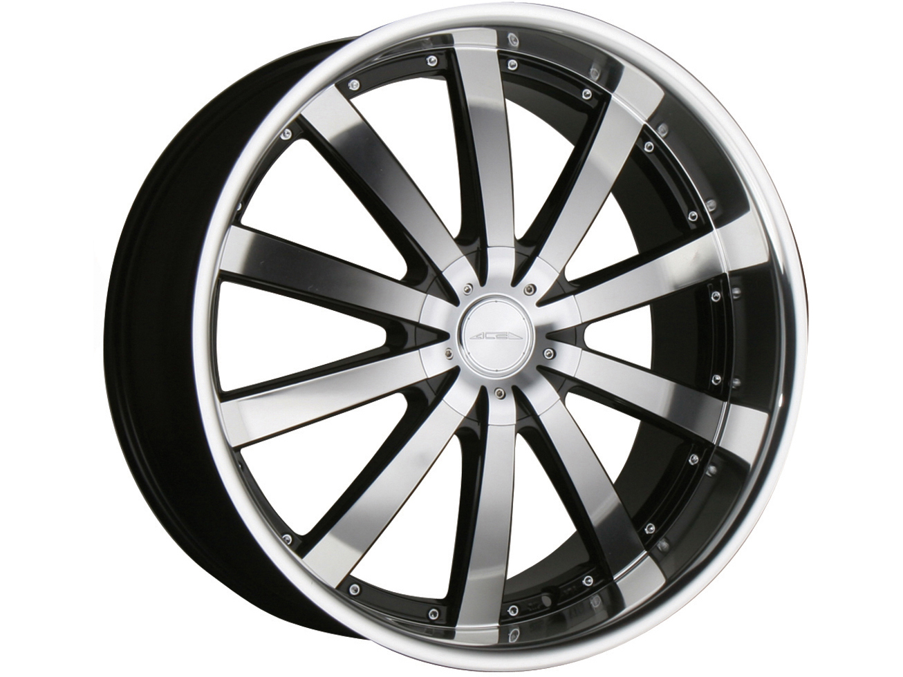 """22"""" Ace Executive Black Staggered Wheels Rims 300C Charger Magnum Challenger"""